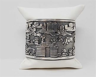 923  Sterling Silver RB Story Teller Native American Cuff/Bracelet, 84.2g Value $800.00-$1200.00 Signed by artist RB sterling silver native American story teller cuff/bracelet. Weighs approx 84.2g