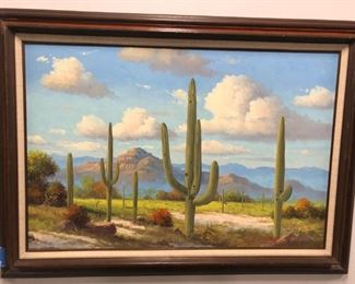 "Artist: Ronnie Hedge Landscape: Cacti and mountains Signed: Yes Size: 43"" x 31"" Day 1 Price: $6,000"