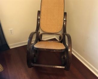 King Bedroom Lot #5 Antique Caned Rocking Chair $30.00