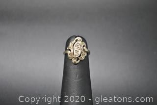 Antique 10K and Diamond Ring