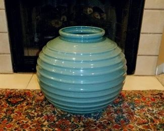 "Large Aqua/Teal? color vase.  Excellent condition.  Can be used as a planter, as it has a hole in the bottom.  Size: 16"" tall, 17"" wide, opening in top is 7"".    $20"