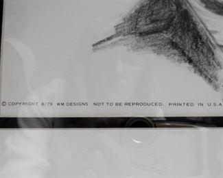 "John Wayne print, The Duke, signed Bill Markowski 8/20/79.  Nicely double matted and framed.  Size: 20"" x 24""   $24"