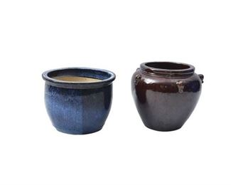 3. Two 2 Glazed Pottery Planters