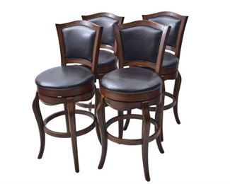4. Set of Four 4 Leather Upholstered Stools