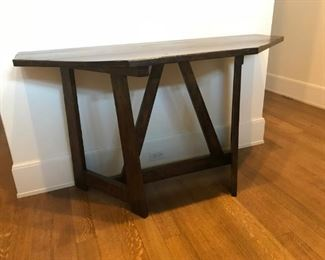 Custom Walnut Console/Sofa Table. Plank style top with triangular back stretcher attaching two u-post legs. 60w x 24d x 34h    $650