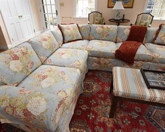 """ITEM 1: Light Blue Cabbage Rose Sectional  $525 Fair/Good condition. One of the seat cushions has a 8""""- 9"""" spot. It looks to me like sometimes the family dog didn't stay on the blanket. There are a few pictures of it specifically. Otherwise this sofa is in good condition. 4 matching pillows included. Requires professional mover"""