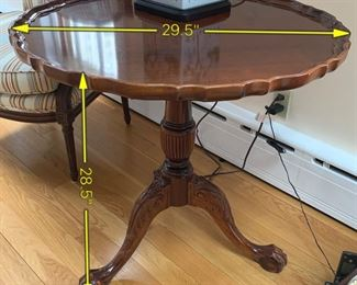 ITEM 3: Pie crust table, ball and claw feet. $195 Fair/Good condition. The legs have some damage done by an adorable yellow lab, but the top is in very good condition, please review the pictures carefully. It is also a tilt-top table, so it can store flatter against the wall when needed.