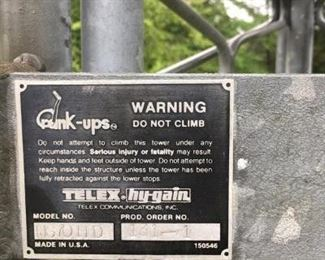 TELEX HAM RADIO CRANK UP TOWER ANTENNA