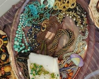 Lot 1 - one tray of costume Jewelry turquoise and orange beads + content of tray $8.                                          To buy: Text or Call 407.252.8845   Lot 1