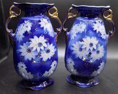 Cobalt Blue Hand Painted Urn Vases