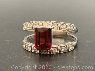 Emerald Garnet and Diamond 14K ring