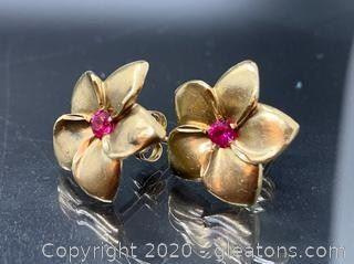 Ruby and 14K Gold Flower Earrings