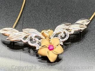Ruby and 14K TwoTone Flower Pendant