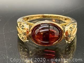 Cabachon Garnet and Blue Diamond Ring