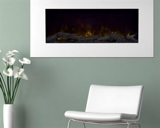 """Northwest Electric Fireplace Wall Mounted Color Changing LED Flame and Remote, 36"""", White"""