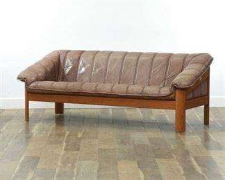 Hjellegjerde Danish Modern Leather & Teak Sofa, Norway