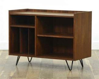 Mid Century Modern Style Record Shelf W Hairpin Legs