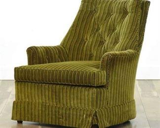 Drexel Striped Tufted Velour Armchair