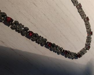 Sterling silver marquisett with stones. Necklace ( has matching bracelet) $35