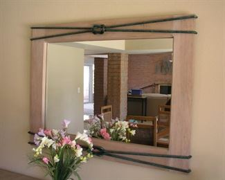 """Item #3 - Mirror with Iron Decoration with """"Figure 8"""" Knot - 48"""" wide x 36"""" tall - Asking Price Reduced to $50!!!"""