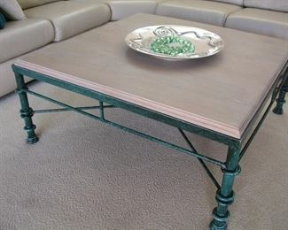 """Item #5 - Coffee Table with Iron Base - """"Figure 8 Knot"""" - 42"""" square x 18"""" tall - Asking Price Reduced to $45!!!"""