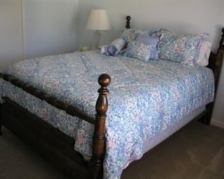 Item #12 - Queen Size 4-Poster Bed with mattress and linens - Asking Price Reduced to $150!!!