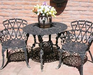 """Item #33 - Vintage Wrought Iron Patio Table with 2 Chairs / 30"""" dia. table / Heart design - Very nice!  Asking Price $125"""