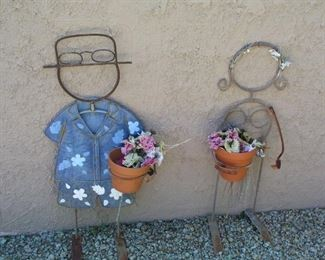 "Item #22 - Pair of Garden Art Figures - Cute! Approx. 25"" tall - Asking Price $30"