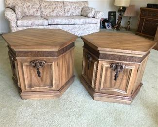 """Two vintage hexagon side tables with storage.  Each 24"""" width and 20-1/2"""" height.  $85/pr."""