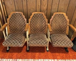 Three antique theatre chairs.  Solid and in very good condition for age.  $135.