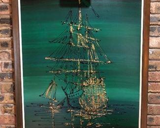"Large oil painting of sailing ships, signed ""Kenya"".  Measures 43"" x 33"".  $55."