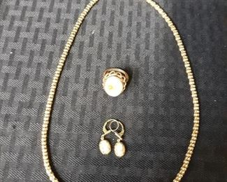Gold necklace from Italy, cameo earrings Avon ring
