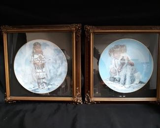 2 Framed Penni Anne Cross Collectors Plates