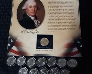 2 George Washington presidential dollar coins with 12 quarters