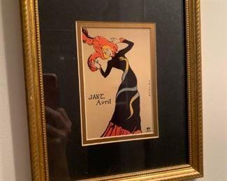 framed Jane Avril by H Stern, Paris ==> $75 plus tax
