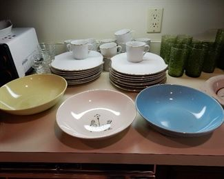 Japan white plates gold rim w matching  coffee cups