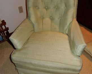$30     Green upholstered chair
