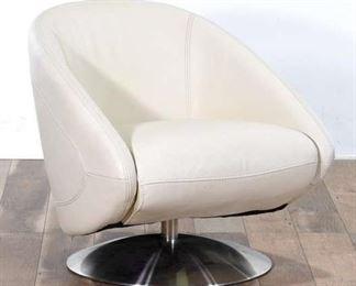 Contemporary White Atomic Era Style Swivel Armchair