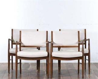 Set 4 Mid Century Danish Modern Dining Chairs