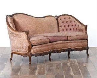 Carved Victorian Sloped & Tufted Back Pink Sofa