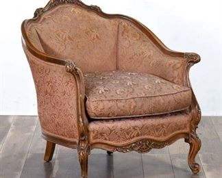 Carved Victorian Armchair W Pink Jacquard Upholstery