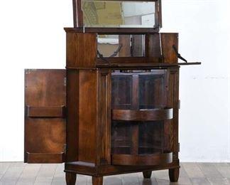 Edwardian Style Bar Cabinet W Beveled Mirror