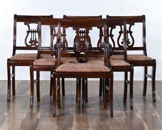 Set 6 Antique Hepplewhite Lyre Back Dining Chairs