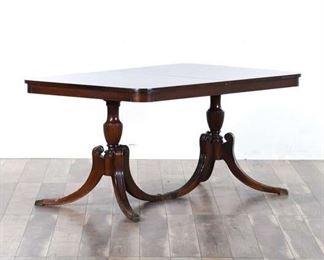 Georgian Solid Wood Twin Pedestal Dining Table