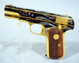 """America Remembers """"Salute To The Military Tribute Pistol"""" Colt 1903 .32 ACP Hammerless Pocket Pistol SN# GOP1180, #105 Of 250, Decorated In 24K Gold & Nickel, Working Firearm"""