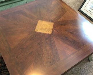 Gorgeous wood inlay coffee table/side table set with cast metal legs(perfect condition) continued...