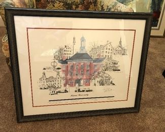 Signed Tom Gaither print of Miami University in Oxford, Ohio. $100.00  Dimensions 30 X 24