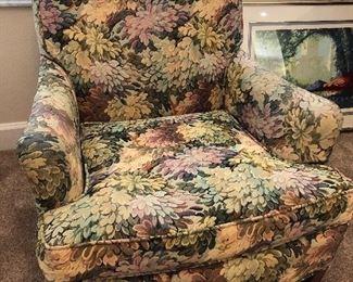 "Floral arm chair $200.00.  Dimensions 30"" wide X 34"" depth X 31"" high"