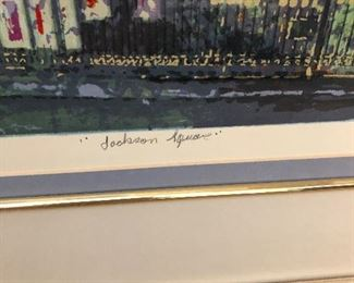 Signed and numbered Litho of Jackson Square in New Orleans continued...