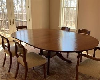 """stunning dining table.  Sturdy.  96"""" long with two 18"""" leaves (each leaf).  Shrinks to 60"""" round      Reduced from $750. To $675"""